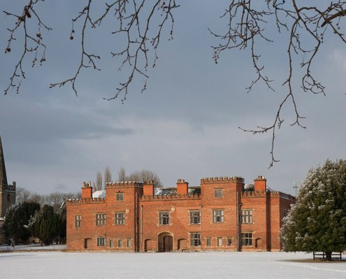 Holme Pierrepont Hall in the snow