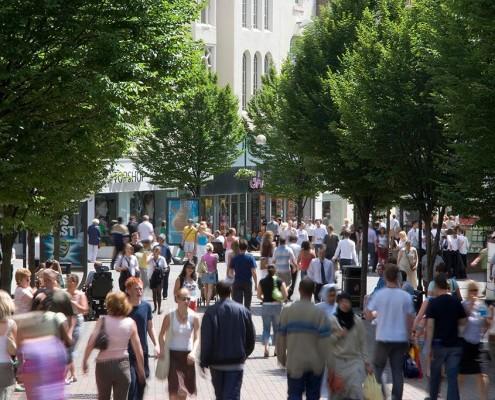 Looking down Albert Street to Lister Gate