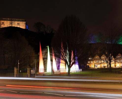 Nottingham Castle and Brewhouse Yard seen on annual 'Light Night'