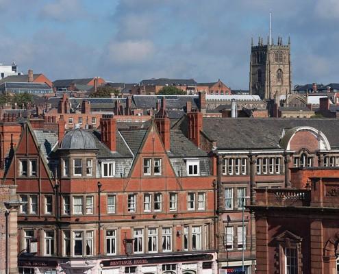 Nottingham Skyline towards St.Mary's Church