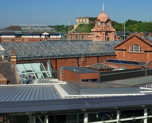 Nottingham Station with The Castle beyond