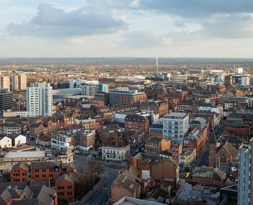 Nottingham skyline towards the south east
