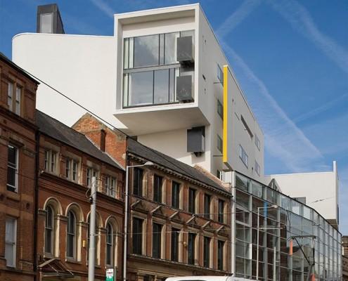 Tram on Fletcher Gate & Ibis Hotel - Benson Forsyth Architects